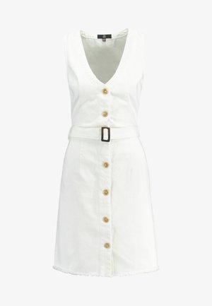 BELTED BUTTON THROUGH DRESS - Vestito di jeans - white