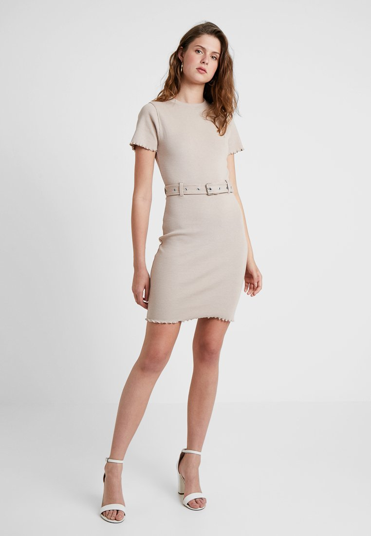 Missguided Tall - BELTED SHORT SLEEVE MINI DRESS - Day dress - sand