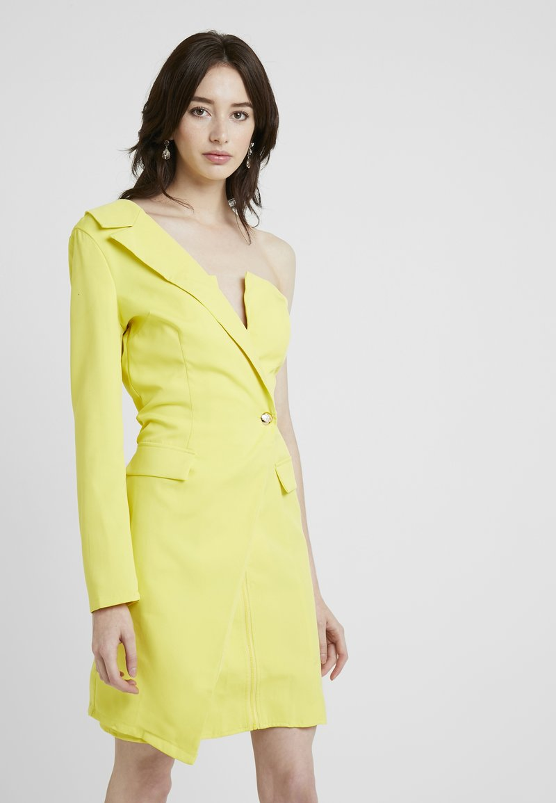 Missguided Tall - ONE SHOULDER ZIP FRONT DRESS - Cocktailklänning - yellow