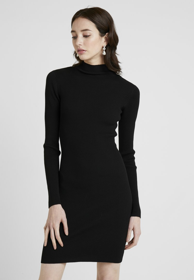Missguided Tall - BASIC HIGH NECK LONG SLEEVE DRESS - Pouzdrové šaty - black