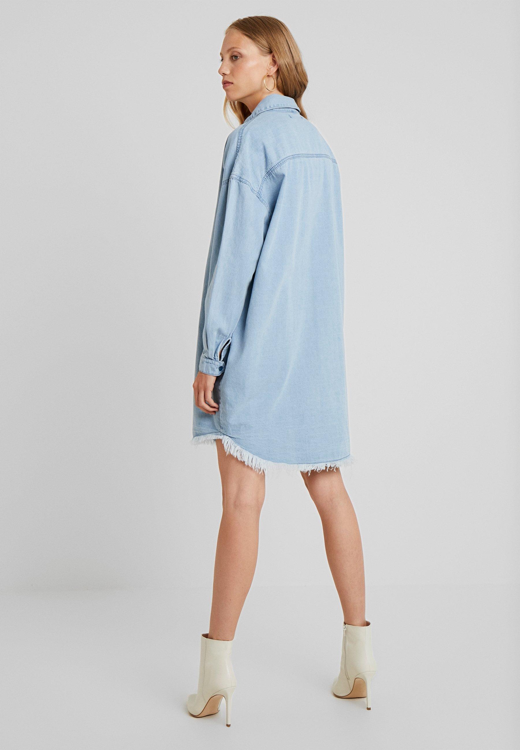 Missguided StonewashRobe Jean Dress Tall En Blue Oversized lKFJc1