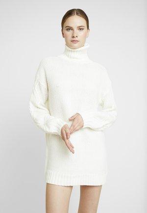 CABLE SLEEVE ROLL NECK JUMPER DRESS - Jumper dress - cream