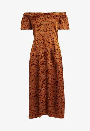 SPOT BARDOT POCKET FRONT MIDI DRESS - Paitamekko - orange