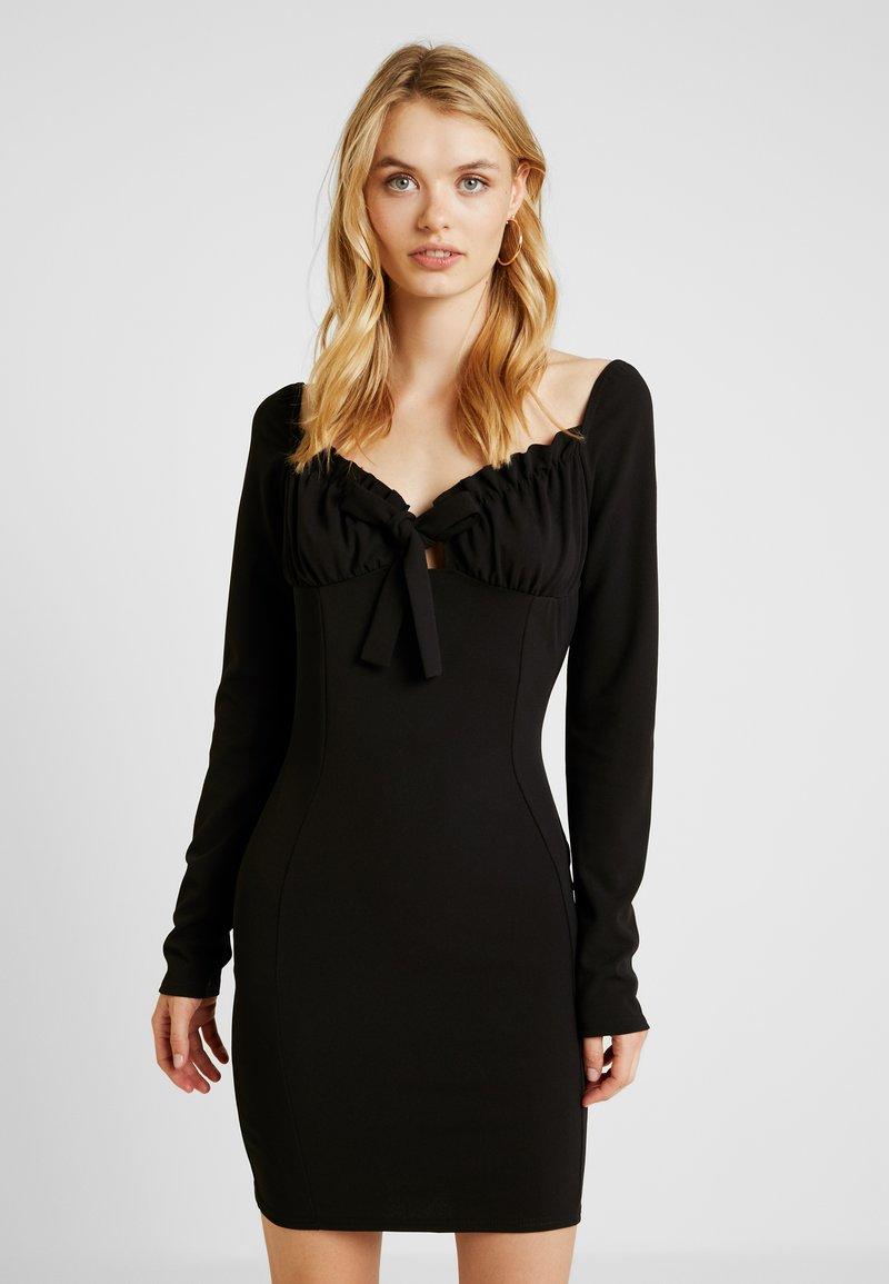 Missguided Tall - MILKMAID TIE FRONT MINI DRESS - Cocktail dress / Party dress - black