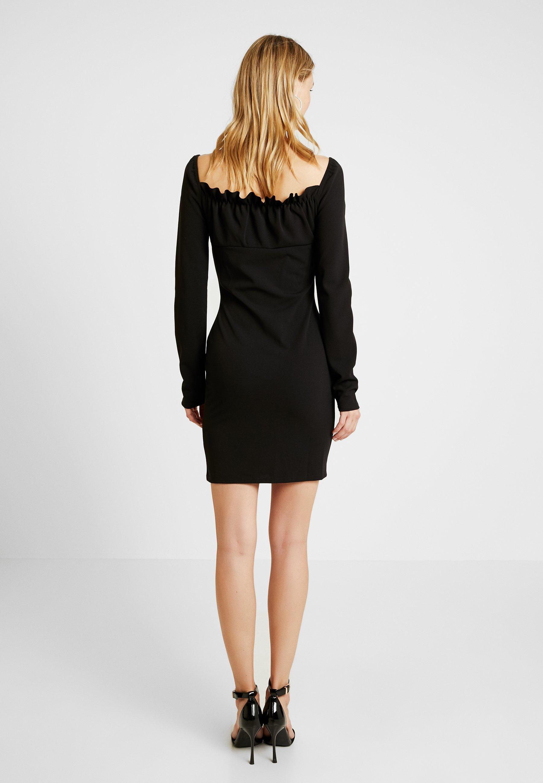 Tall Missguided Tie Milkmaid DressRobe Mini Front Soirée Black De w0PnkO