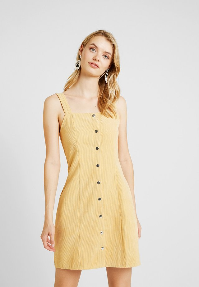 POPPER FRONT PINAFORE DRESS - Day dress - old gold