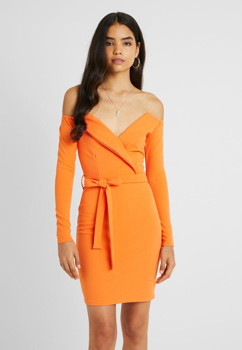 Missguided Tall - BARDOT FOLDOVER BODYCON MINI DRESS - Vestido ligero - nectarine