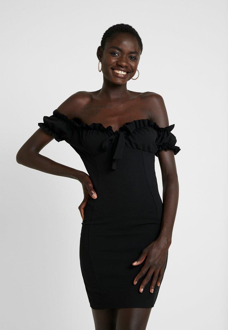 Missguided Tall - BARDOT MILKMAID BODYCON DRESS - Shift dress - black