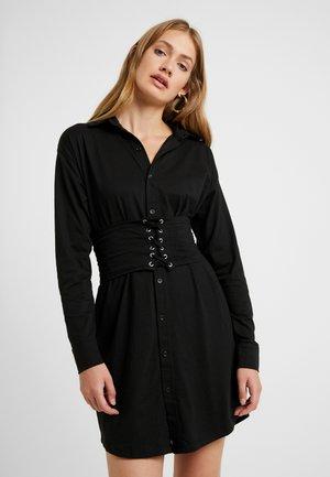 CORSET SHIRT DRESS - Žerzejové šaty - black