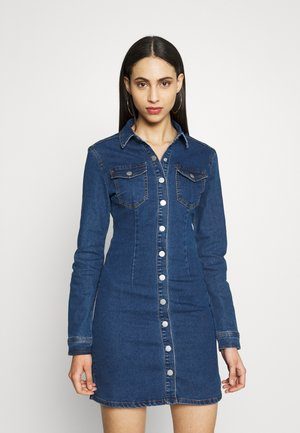 LONG SLEEVE BUTTON THROUGH DRESS - Denimové šaty - blue