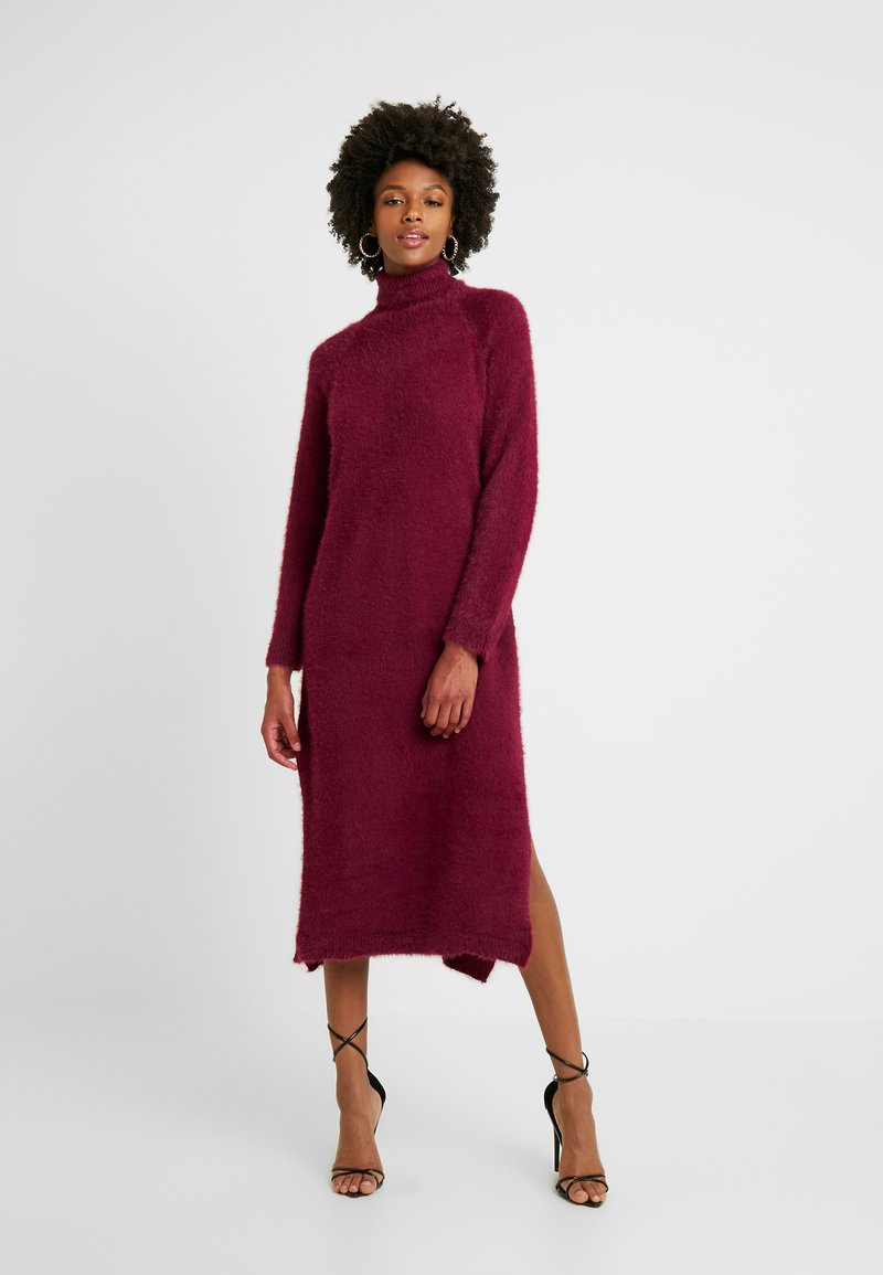 Missguided Tall - FLUFFY MIDAXI DRESS - Długa sukienka - burgundey