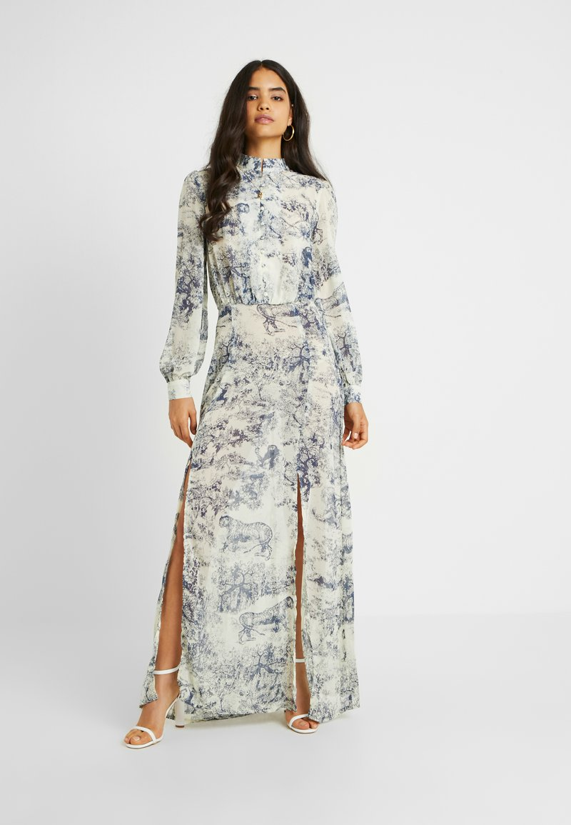 Missguided Tall - CHINA PLATE BUTTON FRONT MAXI DRESS - Cocktailkleid/festliches Kleid - blue