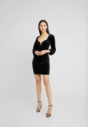 SQUARE NECK LONG SLEEVED MINI DRESS - Robe fourreau - black