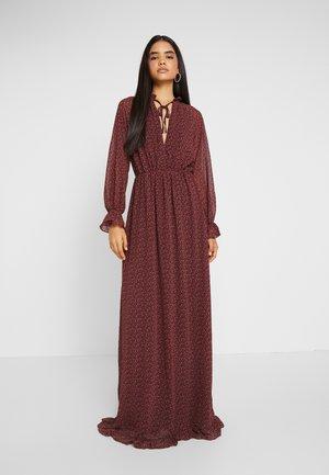 FLORAL FRILL LONG SLEEVED MAXI DRESS - Vestido largo - red
