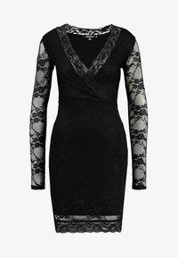 Missguided Tall - PLUNGE BODYCON MINI DRESS - Pouzdrové šaty - black - 5