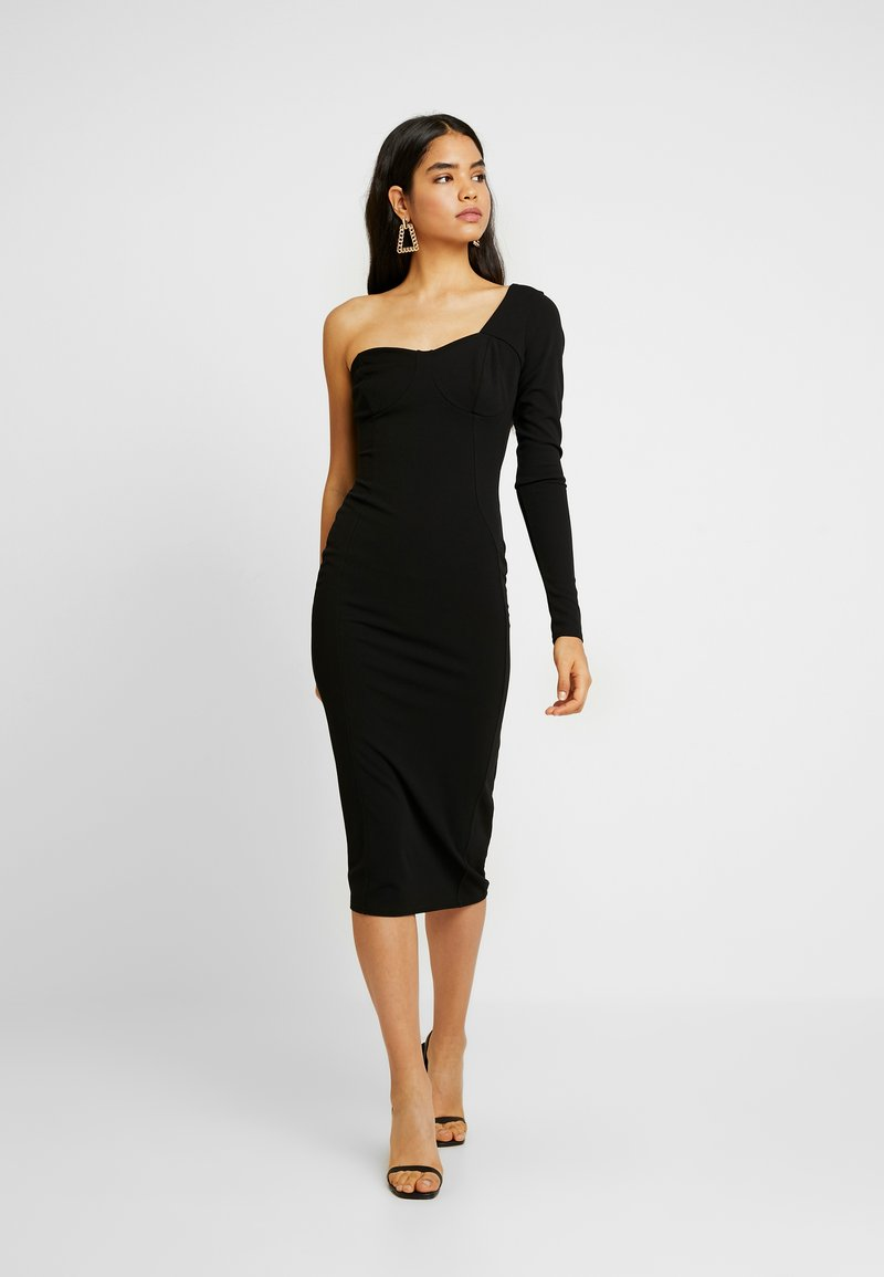 Missguided Tall - ONE SHOULDER STRUCTURED BODYCON MIDI DRESS - Žerzejové šaty - black