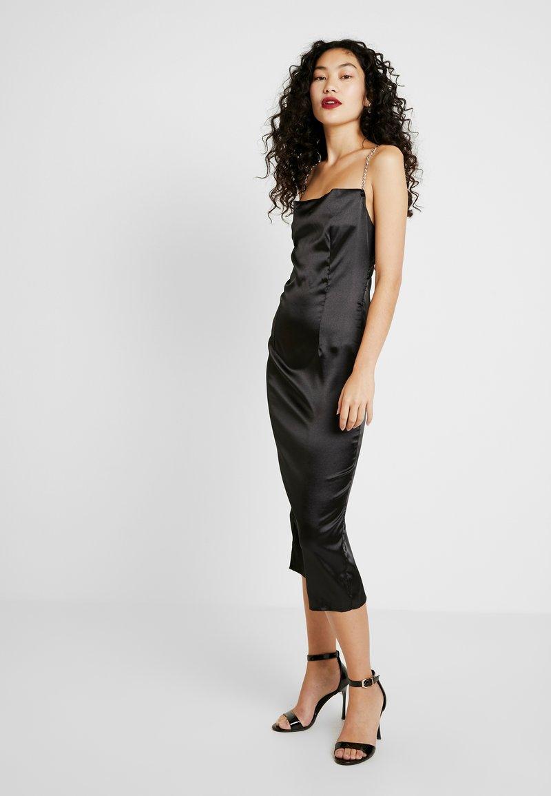 Missguided Tall - CHAIN STRAP COWL NECK MIDI DRESS - Koktejlové šaty/ šaty na párty - black