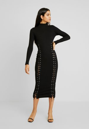 HIGH NECK EYELET MIDAXI DRESS - Jerseyklänning - black