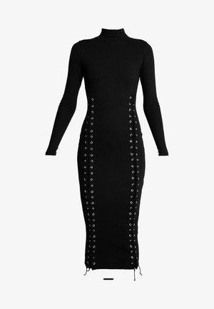 HIGH NECK EYELET MIDAXI DRESS - Trikoomekko - black