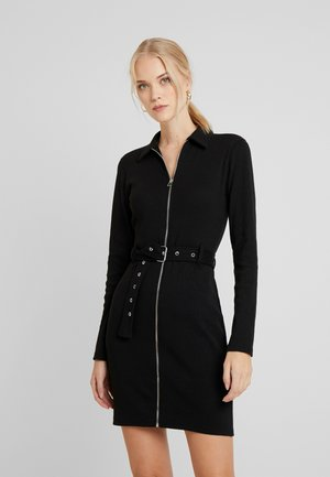 ZIP FRONT MINI DRESS - Shift dress - black