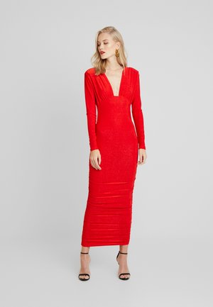 SPARKLE PLUNGE RUCHED DRESS - Abito in maglia - red