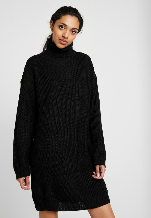 ROLL NECK JUMPER DRESS - Sukienka dzianinowa - black