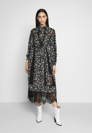 LACE DETAIL FLORAL TIE NECK MIDAXI DRESS - Robe d'été - black