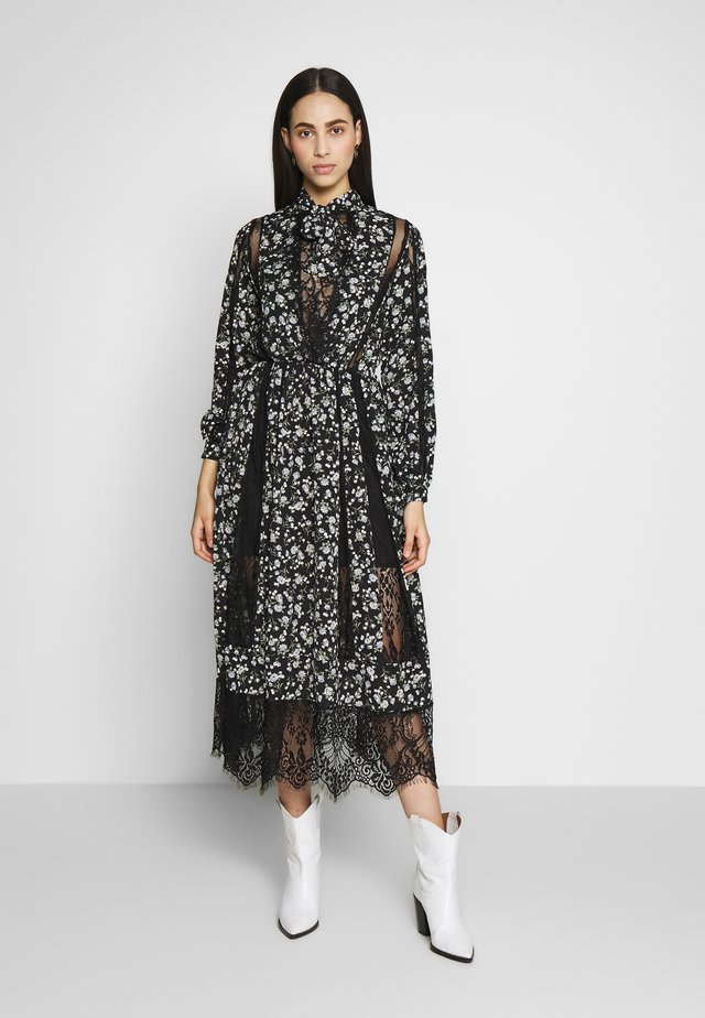 LACE DETAIL FLORAL TIE NECK MIDAXI DRESS - Sukienka letnia - black