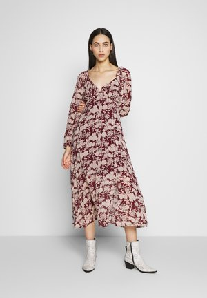 FLORAL MILKMAID MIDAXI DRESS - Kjole - burgundy