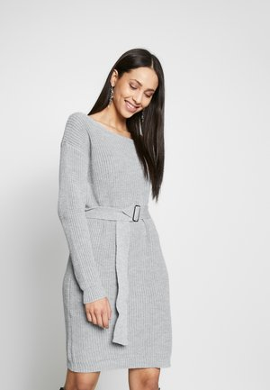 BELTED MINI DRESS - Gebreide jurk - grey