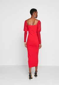 Missguided Tall - MESH PUFF SLEEVE BOW MIDI DRESS - Cocktailkjole - red - 2
