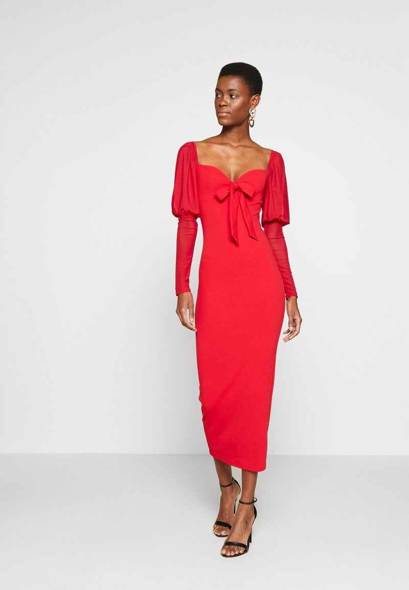 Missguided Tall - MESH PUFF SLEEVE BOW MIDI DRESS - Cocktailkjole - red
