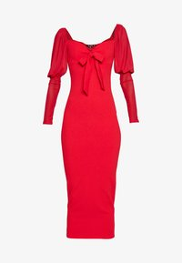Missguided Tall - MESH PUFF SLEEVE BOW MIDI DRESS - Cocktailkjole - red - 3