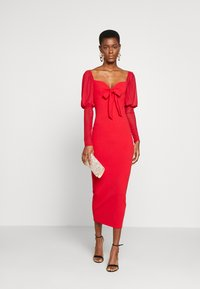 Missguided Tall - MESH PUFF SLEEVE BOW MIDI DRESS - Cocktailkjole - red - 1
