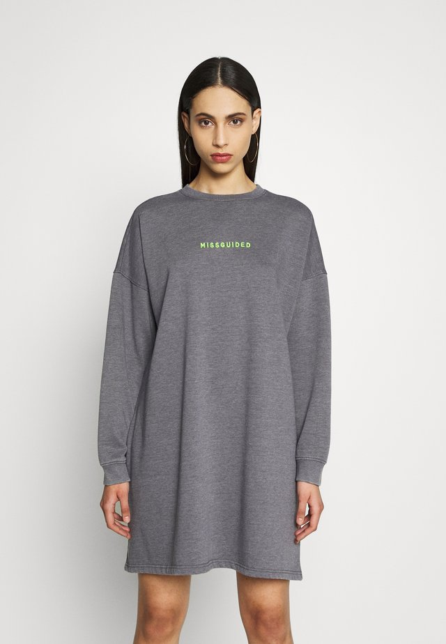 OVERSIZED SWEATER DRESS WASHED  - Vestido informal - charcoal