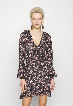 FLORAL WRAP FRILL DRESS - Jerseyjurk - black