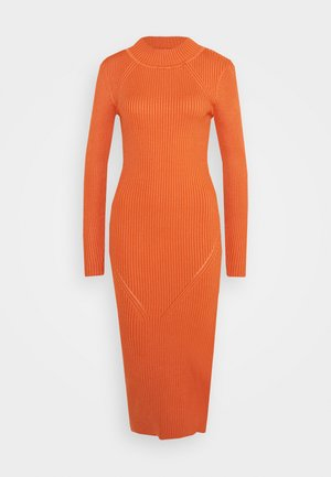 FUNNEL NECK SIDE SPLIT MIDI DRESS - Pletené šaty - orange