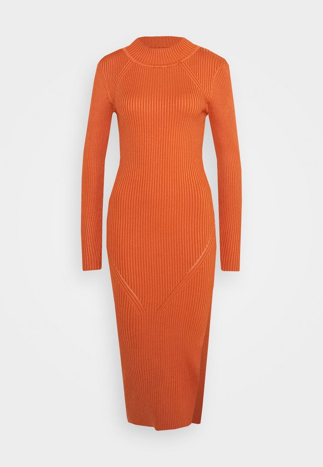 FUNNEL NECK SIDE SPLIT MIDI DRESS - Stickad klänning - orange