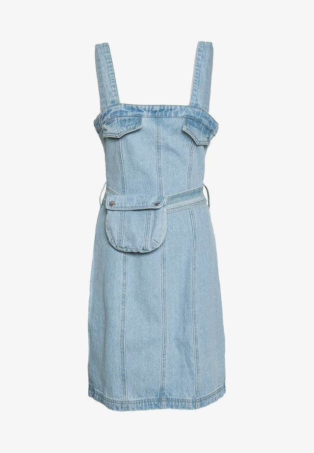 ZIP UP DRESS WITH BUMBAG - Sukienka letnia - denim blue