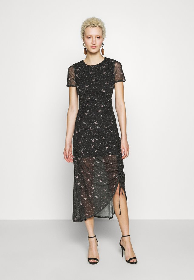 DITSY FLORAL RUCHED MIDI DRESS - Korte jurk - black