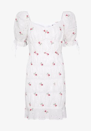 BRODERIE EMBROIDERED MINI DRESS - Day dress - white