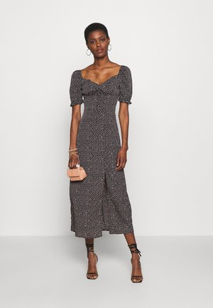 MILKMAID TIE BUST MIDI DRESS SPRINKLE - Day dress - black
