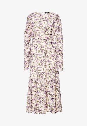 PUFF SLEEVE RUFFLE HEM MIDI SMOCK DRESS FLORAL - Day dress - cream