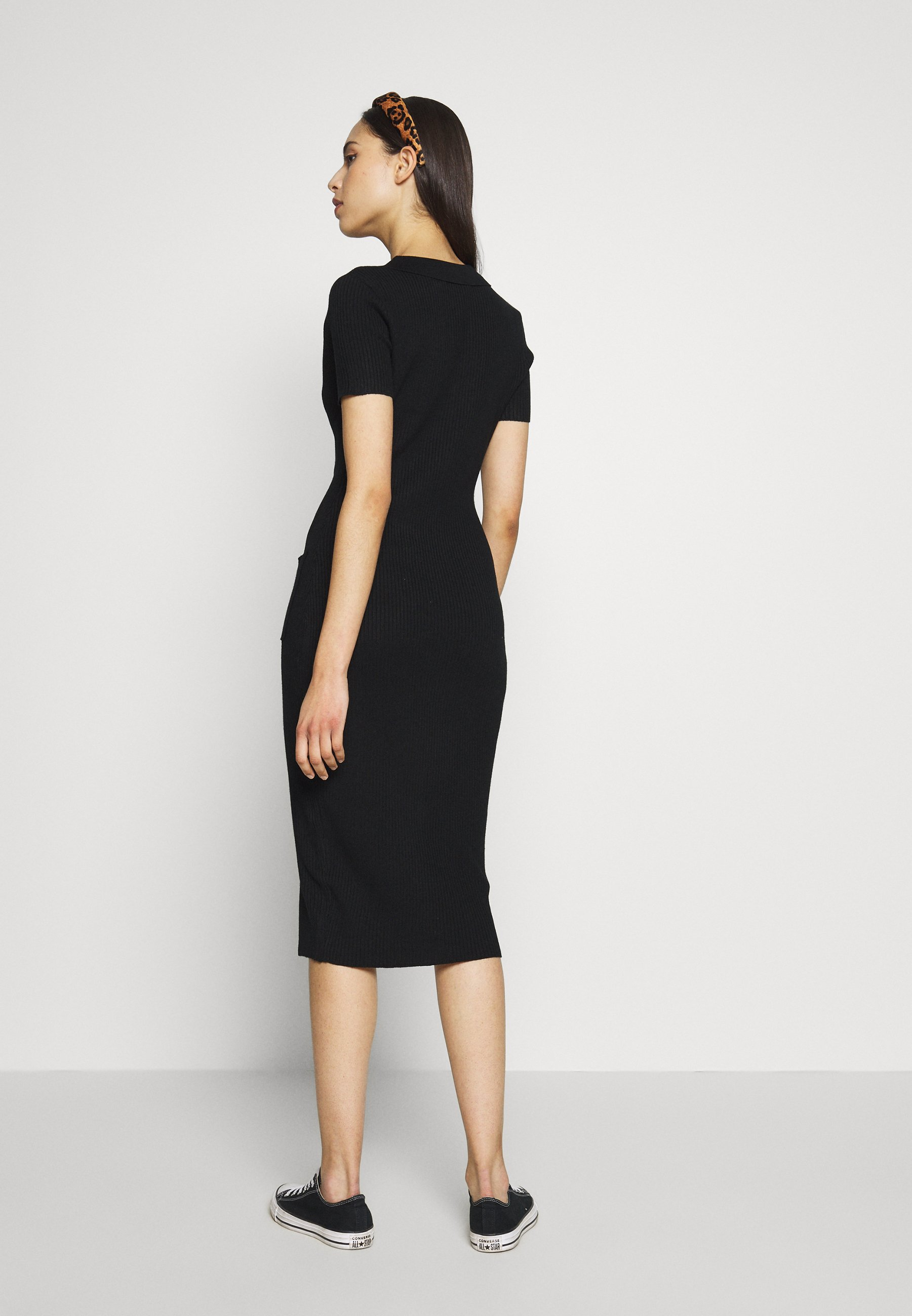 Missguided Tall Collar Plunge Button Up Dress - Robe Pull Black