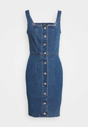 NECK BUTTON THRU DRESS - Sukienka jeansowa - blue