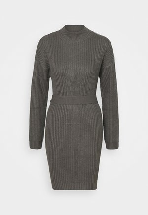 ROLL NECK BASIC DRESS WITH BELT - Jumper dress - charcoal
