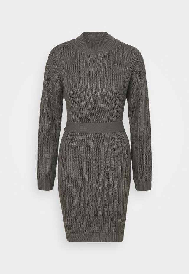 ROLL NECK BASIC DRESS WITH BELT - Sukienka dzianinowa - charcoal
