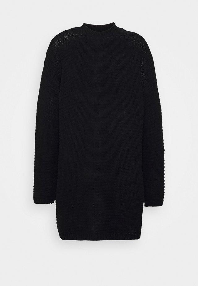 HIGH NECK DRESS - Stickad klänning - black