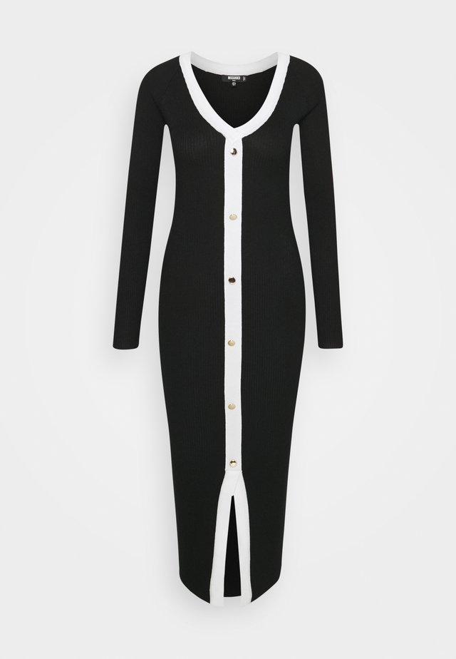 BUTTON THROUGH CARDI DRESS - Gebreide jurk - black