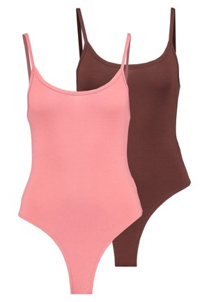 CAMI BODYSUIT 2 PACK  - Linne - pink/chocolate
